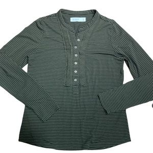 Carve Designs striped Henley with tucks-medium